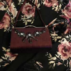 Charming Charlie's velvet jeweled clutch handbag